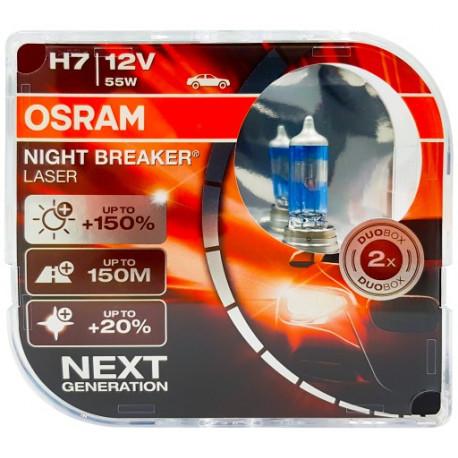 OSRAM automobilių lemputės 55W 12V H7 NIGHT BREAKER lazer +150%